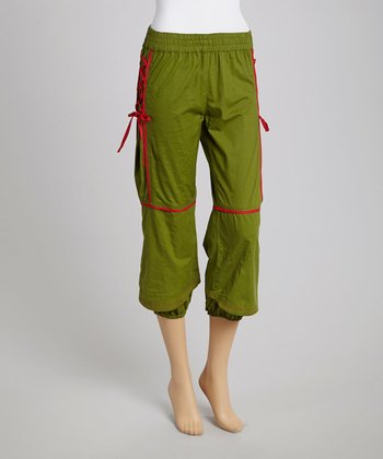 Khaki Laced Cropped Pants