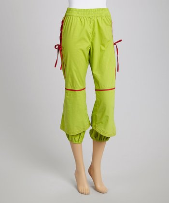Lime Green Laced Cropped Pants