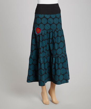 Black Circle Peasant Maxi Skirt