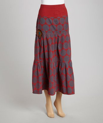 Rust Circle Peasant Maxi Skirt