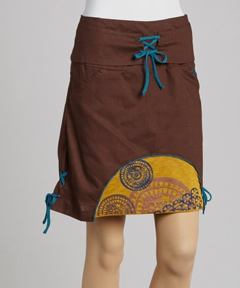 Chocolate & Yellow Laced Skirt