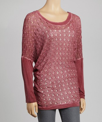 Dark Pink Crocheted Layered Top