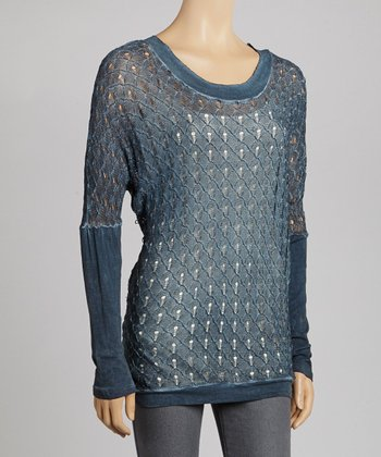 Denim Blue Crocheted Layered Top