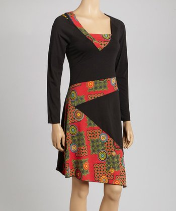 Black Circle Square Neck Dress
