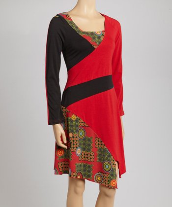 Red Circle Square Neck Dress