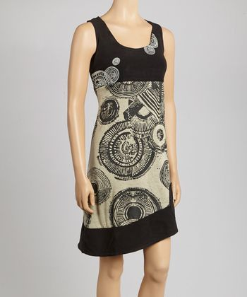 Black Geometric Sleeveless Dress