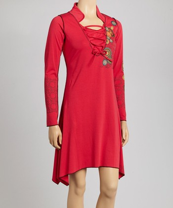 Red Circle Sidetail Dress