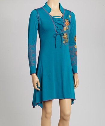 Teal Circle Sidetail Dress