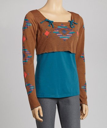 Teal & Brown Geometric Layered Top