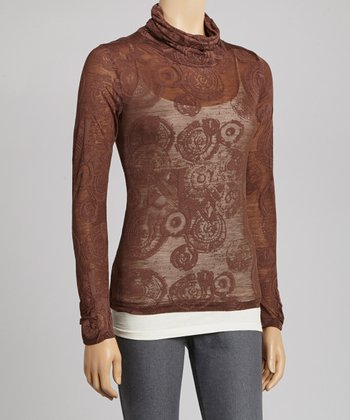 Chocolate Burnout Turtleneck Top