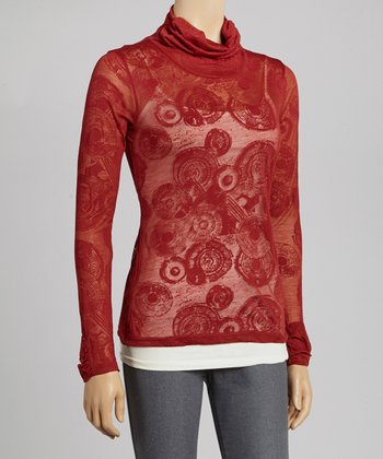 Rust Burnout Turtleneck Top