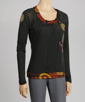 Black Circle Scoop Neck Top