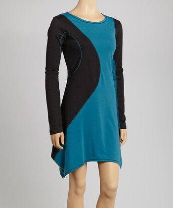 Black & Teal Color Block Sidetail Dress