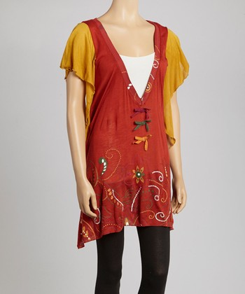 Rust & Mustard Paisley Angel-Sleeve Tunic