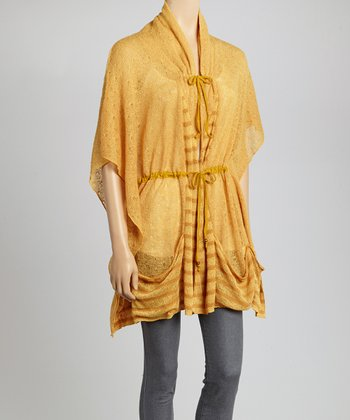 Mustard Stripe Cape-Sleeve Cardigan