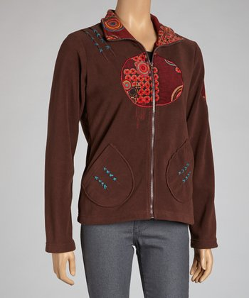 Chocolate Circle Zip-Up Jacket