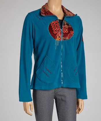 Teal Circle Zip-Up Jacket