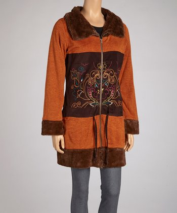 Rust Embroidered Faux Fur Zip-Up Jacket