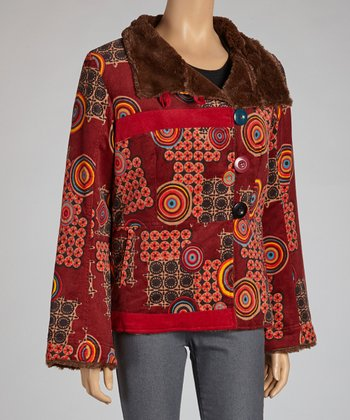 Red Geometric Faux Fur Jacket