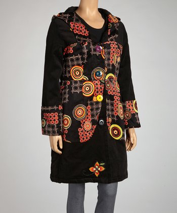 Black & Red Hooded Button-Up Coat