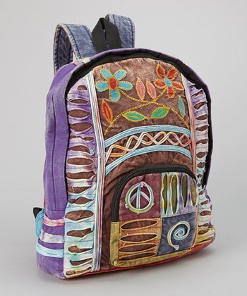 Brown & Purple Razor-Cut Fringe Backpack
