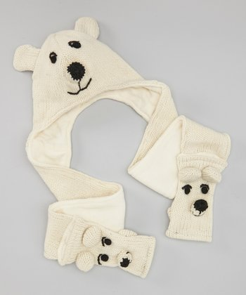 White & Black Bear Scarf Beanie