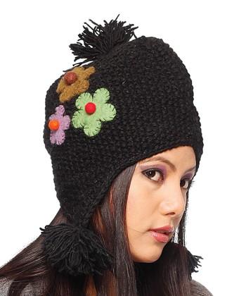 Black & Pink Flower Wool Earflap Beanie