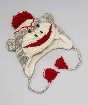 Gray & Red Monkey Wool Earflap Beanie