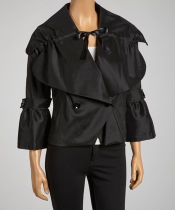 Black Double-Breasted Bell-Sleeve Jacket
