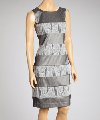 Gray Stripe Snakeskin Dress