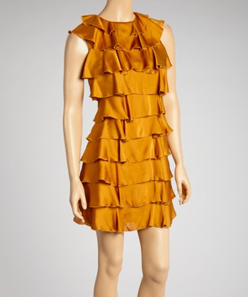 Caramel Tiered Ruffle Dress - Women