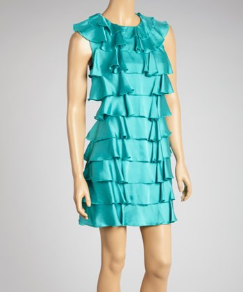 Turquoise Tiered Ruffle Dress
