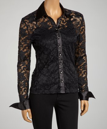 Black Sheer Lace Long-Sleeve Button-Up - Women