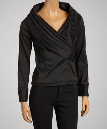 Black Pleated Faux Wrap Top