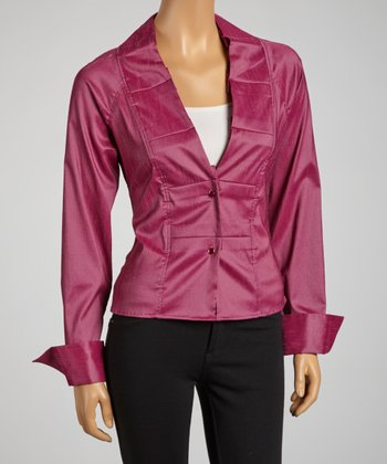 Plum Pleated Collar Tie-Waist Button-Up