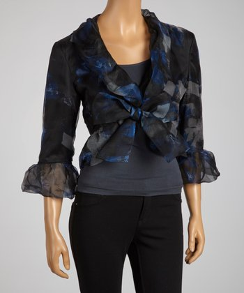 Black & Blue Abstract Sheer Ruffle Silk Top - Women