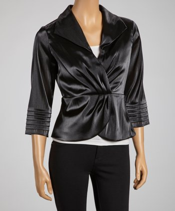 Black Pleated-Sleeve Surplice Top - Women