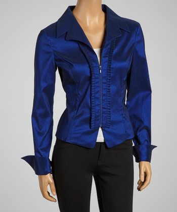 Midnight Blue Pleated Panel Zip-Up Top - Women