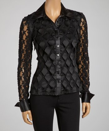 Black Sheer Lace Geometric Button-Up - Women