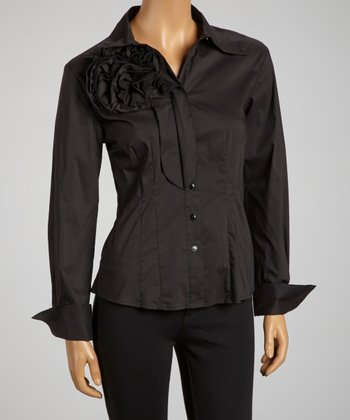 Black Rosette Button-Up