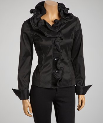 Black Ruffle Collar Button-Up