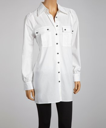 White Button-Up Tunic