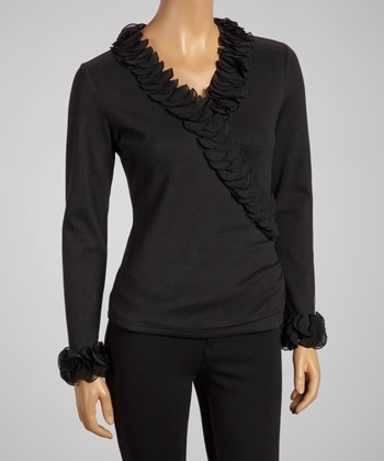 Black Ruffle Surplice Top