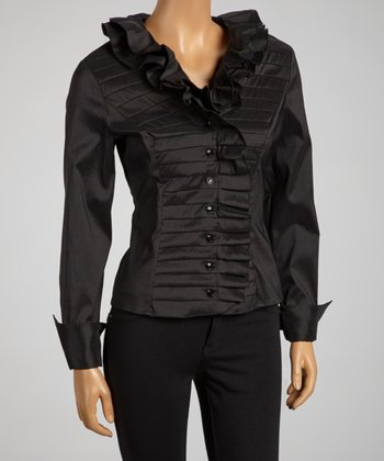Black Pleated Ruffle Collar Top - Women