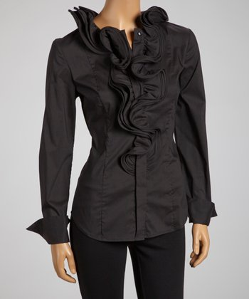 Black Ruffle Swirl Collar Button-Up