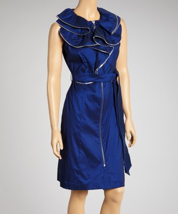 Midnight Blue Ruffle Zipper Tie-Waist Dress - Women