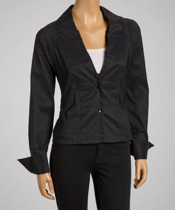 Black Pleated Collar Tie-Waist Button-Up