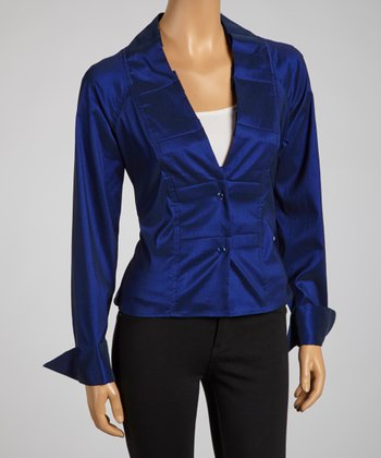 Midnight Blue Pleated Collar Tie-Waist Button-Up - Women