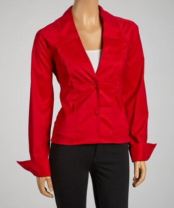 Red Pleated Collar Tie-Waist Button-Up