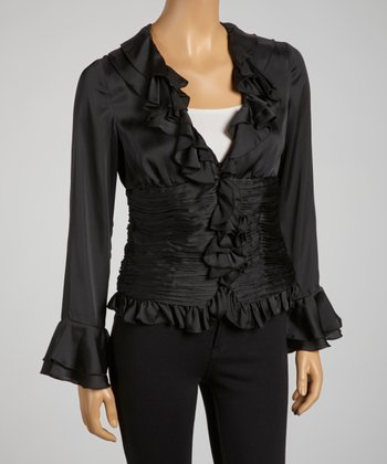 Black Plisse Pleat Zip-Up Top